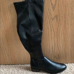 b9451b6916e Over the Knee wide calf black faux leather boots